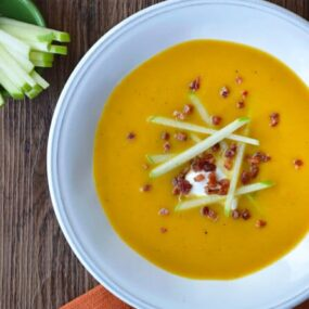 Butternut Squash Apple Soup from justataste.com #recipe