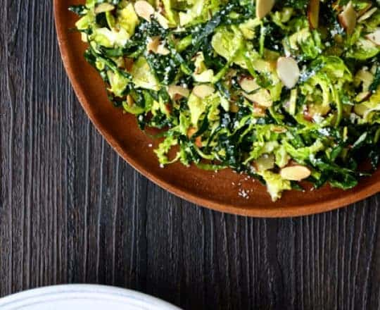 Kale and Brussels Sprouts Salad with Lemon Dressing from justataste.com #recipe