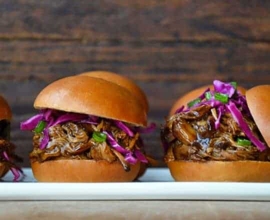 Slow Cooker Balsamic Honey Pulled Pork from justataste.com #recipe