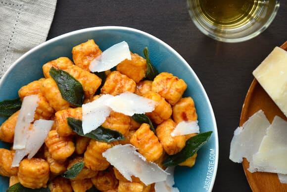 Sweet Potato Gnocchi with Balsamic Brown Butter Sauce Recipe from justataste.com