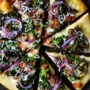 Garlicky Kale and Bacon Pizza from justataste.com #recipe