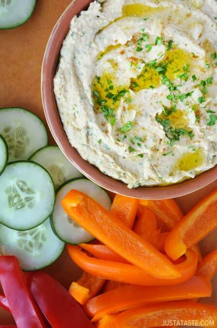 Roasted Garlic Hummus from justataste.com #recipe