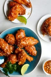 Baked Thai Chicken Wings with Peanut Sauce #recipe