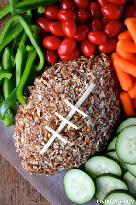 Easy Football Cheese Ball from justataste.com #recipe #video