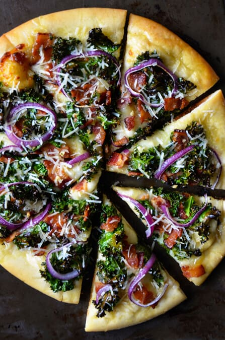 Garlicky Kale and Bacon Pizza