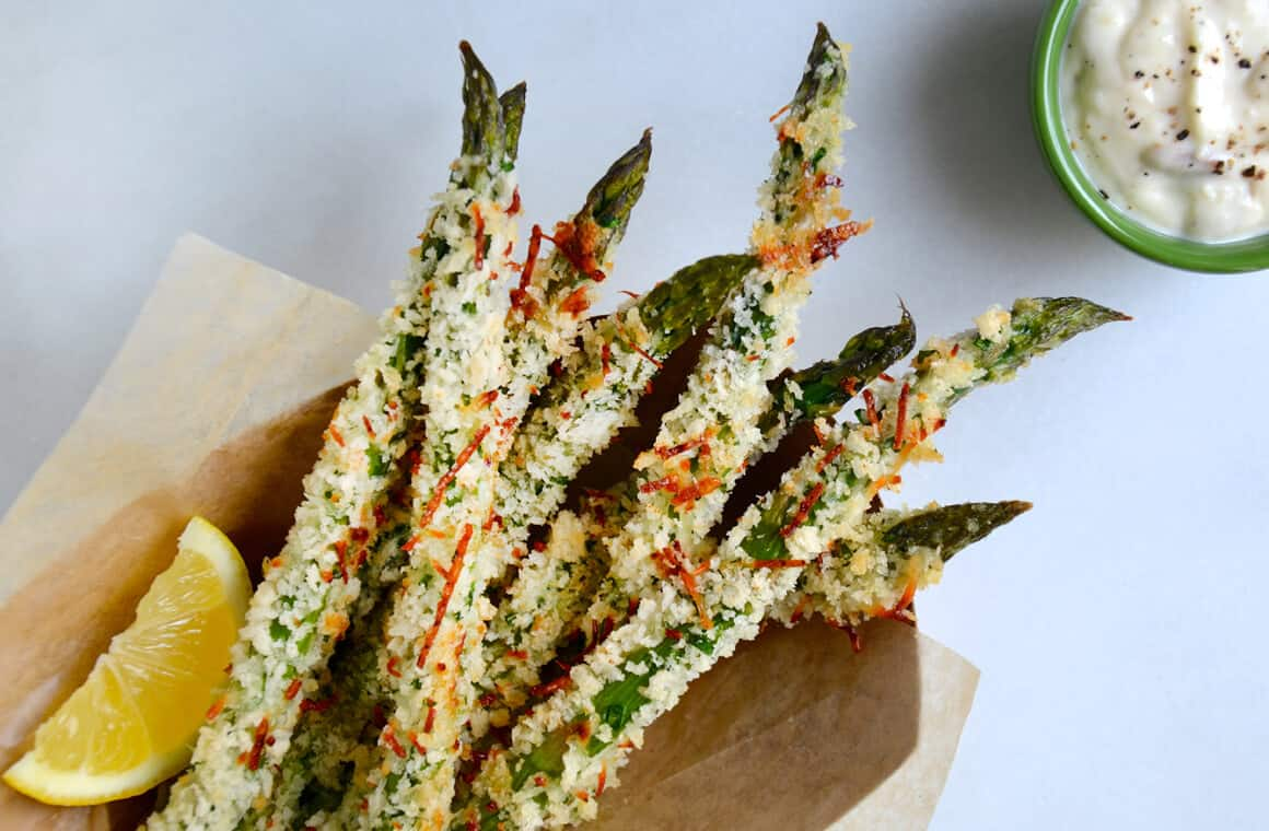 Just A Taste Baked Asparagus Fries With Roasted Garlic Aioli
