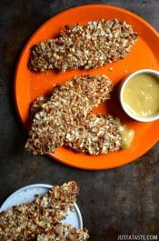 Baked Honey Mustard Pretzel Chicken Tenders #recipe