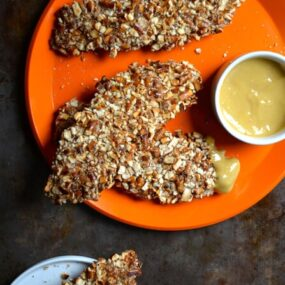 Baked Honey Mustard Pretzel Chicken Tenders #recipe