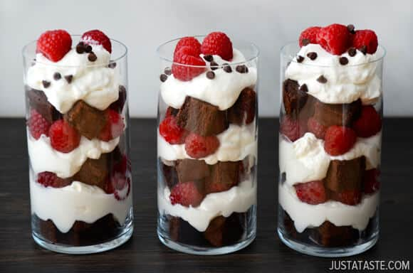 Individual Fruit and Brownie Trifles #recipe