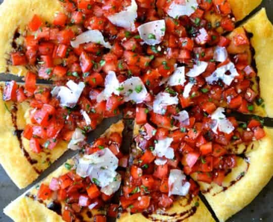 Bruschetta Pizza with Balsamic Syrup #recipe
