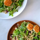 Quinoa Salad with Baked Goat Cheese Rounds #recipe