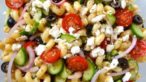 Greek Pasta Salad With Red Wine Vinaigrette Just A Taste