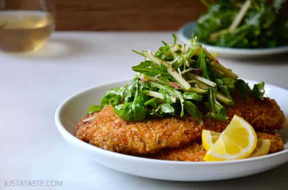 Chicken Milanese with Green Apple Salad #recipe