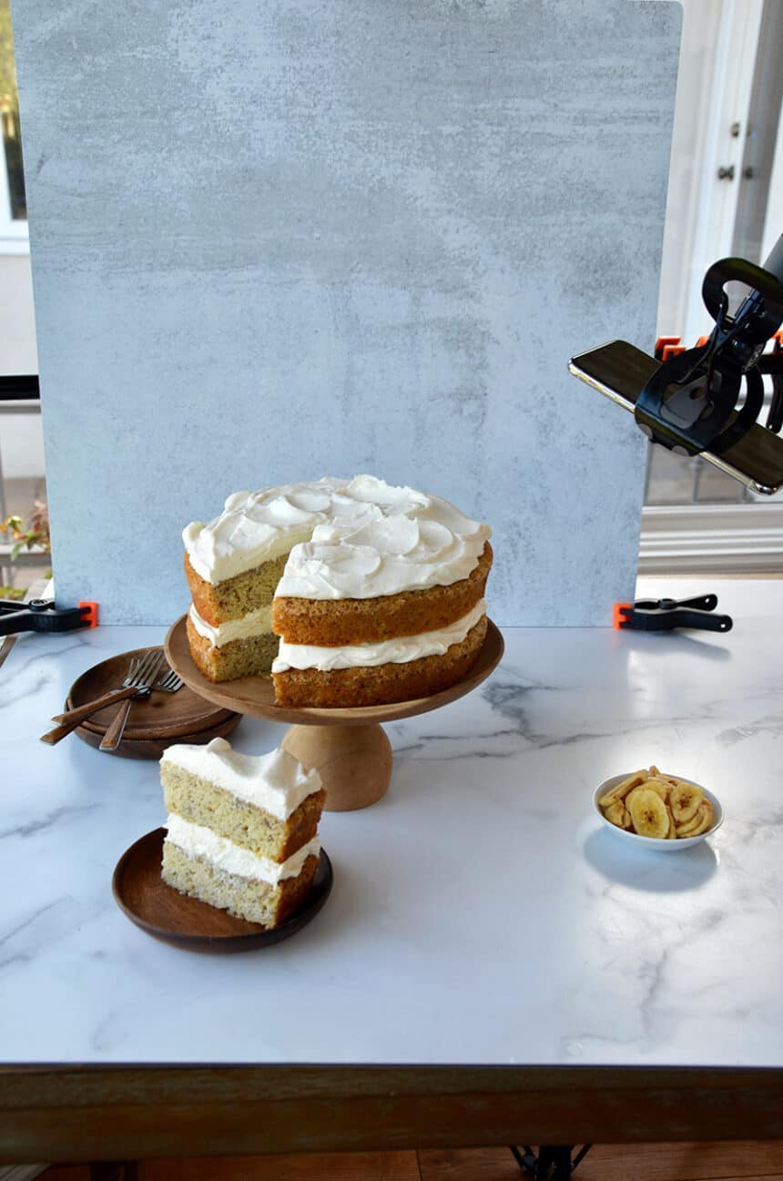 Behind-the-scenes look at decorating a cake and capturing the perfect image