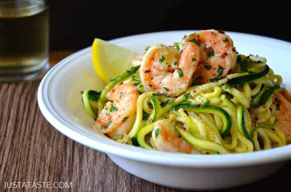 Skinny Shrimp Scampi with Zucchini Noodles, see more at http://homemaderecipes.com/healthy/11-vegetable-spiralizer-recipes