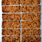Two columns of Soft and Chewy Chocolate Chip Granola Bars.