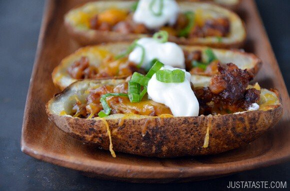 Chorizo and Cheddar Potato Skins Recipe