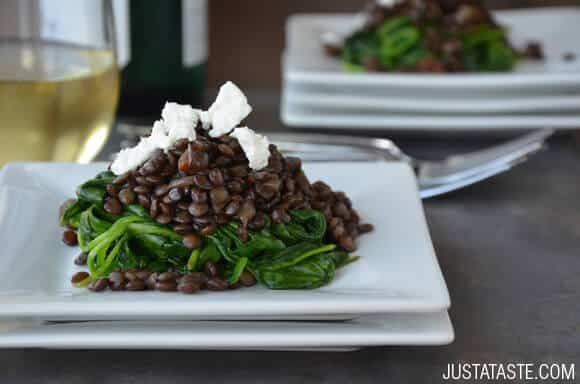 Lentils wit Spinach and Goat Cheese Recipe