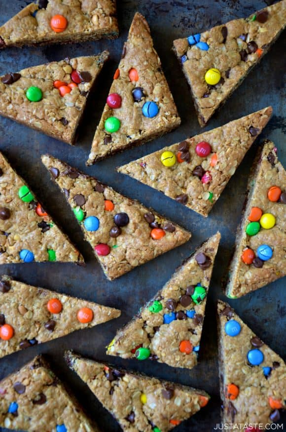 The best monster cookie bars sliced into triangles