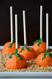 Pumpkin Cheesecake Pops Recipe from justataste.com