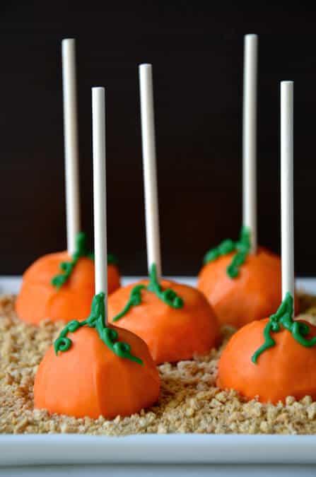 Pumpkin Cheesecake Pops Recipe from justataste.com