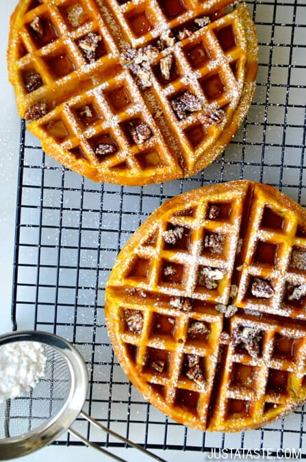 Pumpkin Spice Waffles Recipe from justataste.com