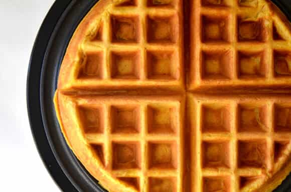 Pumpkin Spice Waffles Recipe from justataste.com
