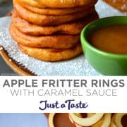Top image: A tall stack of Apple Fritter Rings next to a small green bowl filled with caramel sauce. Bottom image: Apple rings being dipped in batter.