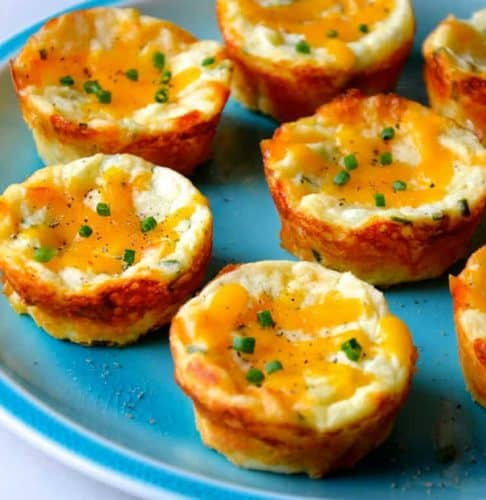 Cheesy Leftover Mashed Potato Muffins Recipe from justataste.com