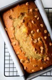 Peanut Butter Banana Bread Recipe from justataste.com