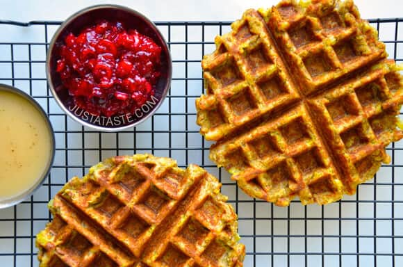 Leftover Stuffing Waffles Recipe from justataste.com