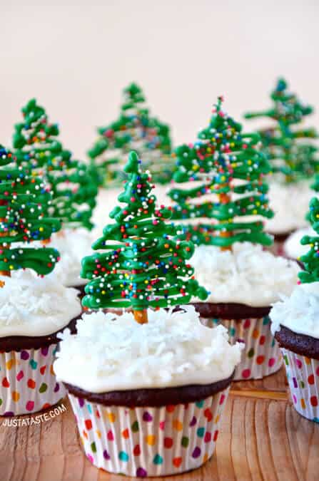 chocolate christmas tree cupcakes with cream cheese frosting recipe from justatastecom