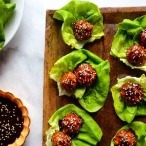 Baked Asian Chicken Meatball Lettuce Wraps Recipe on justataste.com