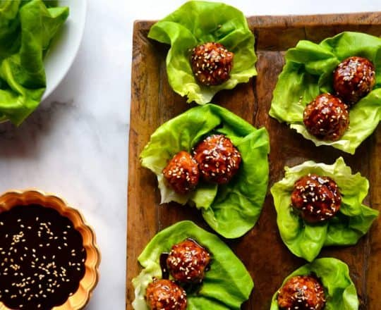 Baked Asian Chicken Meatball Lettuce Wraps