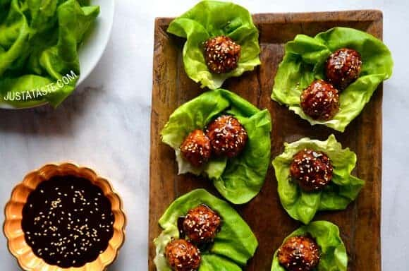 Takeout Recipes: Baked Asian Chicken Meatball Lettuce Wraps Recipe on justataste.com