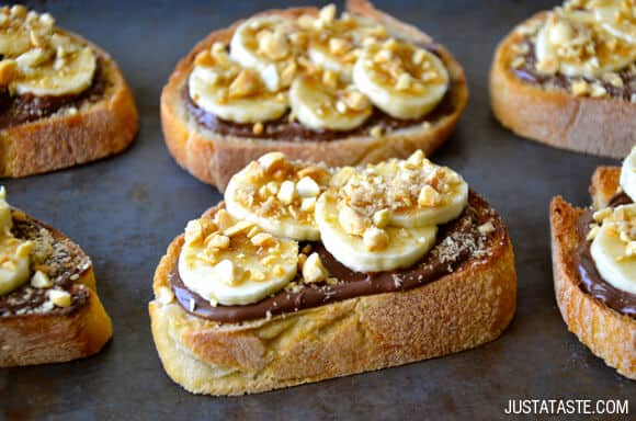 Banana and Nutella Dessert Bruschetta Recipe on justataste.com