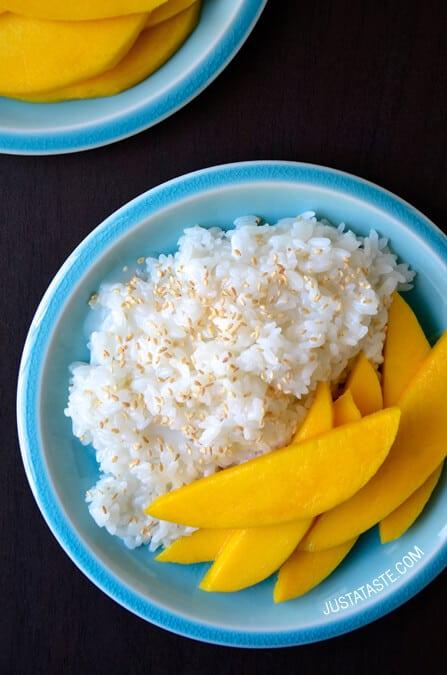 Thai Coconut Sticky Rice with Mango recipe on justataste.com