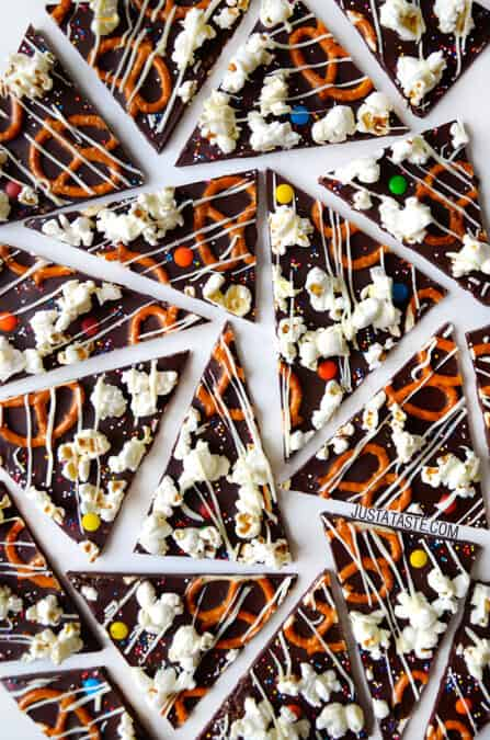 Sweet and Salty Dark Chocolate Bark Recipe on justataste.com