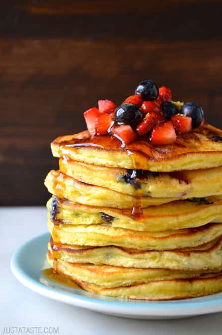 Mixed Berry Ricotta Pancakes Recipe on justataste.com