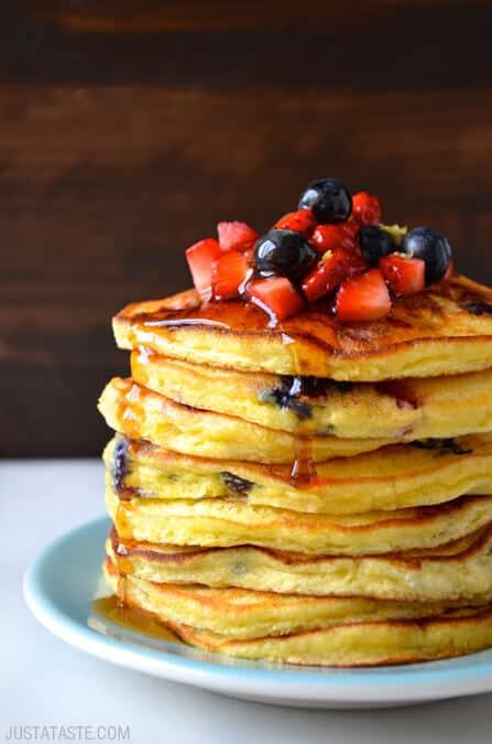 Mixed Berry Ricotta Pancakes Just A Taste Bloglovin
