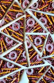 Bittersweet Chocolate Bark with Pretzels recipe on justataste.com