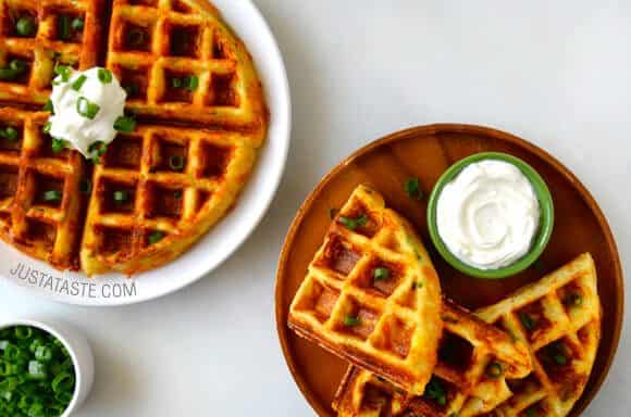 St. Patrick's Day: Cheesy Leftover Mashed Potato Waffles recipe on justataste.com