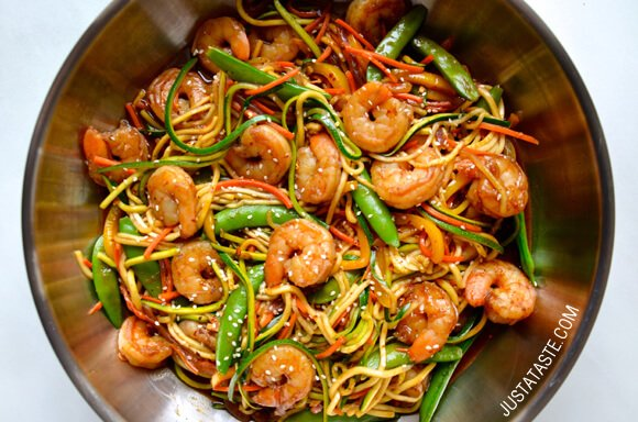 Asian zucchini noodle stir fry with shrimp just a taste pin it asian zucchini noodle stir fry with shrimp recipe on justataste forumfinder Choice Image
