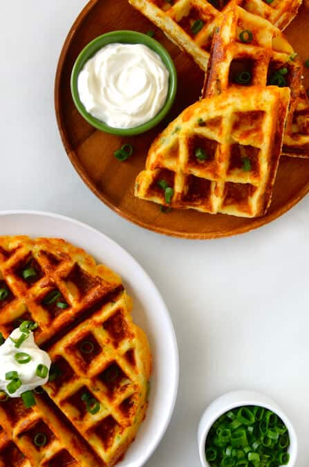 Cheesy Leftover Mashed Potato Waffles