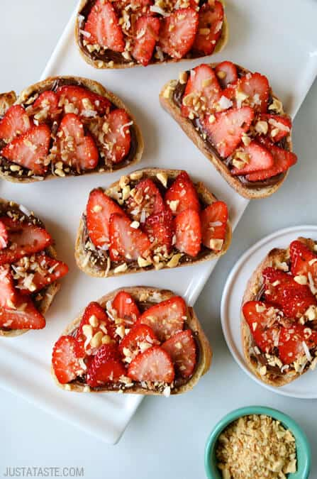 Strawberry Dessert Bruschetta recipe on justataste.com