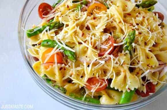 Asparagus Recipes: Asparagus Pasta Salad with Italian Dressing Recipe on justataste.com