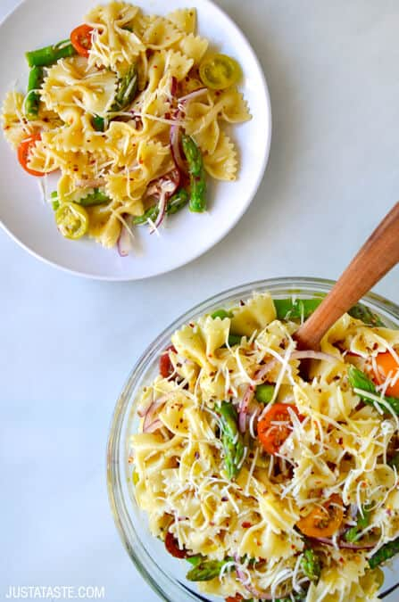 Asparagus Pasta Salad with Italian Dressing Recipe on justataste.com