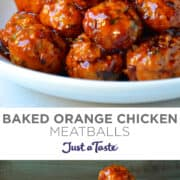 Top image: closeup view of Baked Orange Chicken Meatballs in a bowl garnished with red pepper flakes. Bottom image: Baked Orange Chicken Meatballs piled high in a white serving bowl.