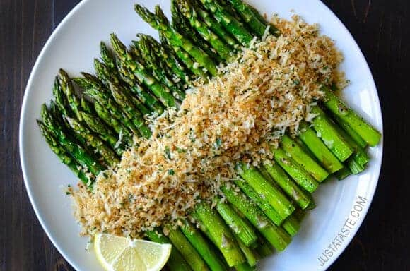 Asparagus Recipes: Roasted Asparagus with Cheesy Breadcrumbs Recipe on justataste.com