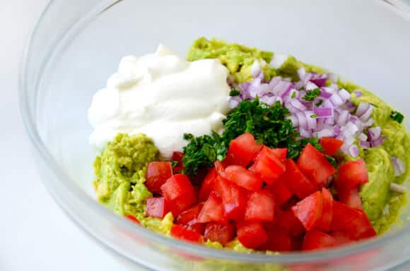 Creamy Greek Yogurt Guacamole Recipe on justataste.com